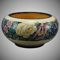 """American Satsuma Enameled Floral Design Bowl (Signed """"R.V. Ede.""""/c.1915-1930)"""