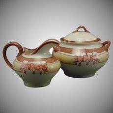 """PL Limoges """"Bleeding Hearts"""" Design Creamer & Sugar Set (Signed """"Hatch""""/Dated 1911) - Keramic Studio Design"""