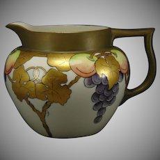 """Lenox Belleek (American) Fruit Motif Cider/Lemonade Pitcher (Signed """"A.R. Barager""""/Dated 1913)"""