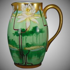 "Pickard Studios ""Pond Lily"" Design Pitcher (Signed ""Leach""/c.1903-1905)"