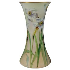 "Hutschenreuther Favorite Bavaria Narcissus Design Vase (Signed ""N. Watt""/c.1909-1930) - Keramic Studio Design"