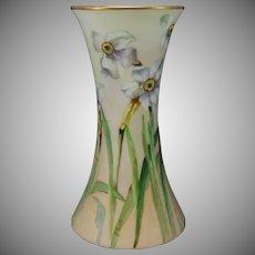 "Hutschenreuther Favorite Bavaria Narcissus Design Vase (Signed ""N. Watt""/c.1909-1930) - Keramic Studio Design"