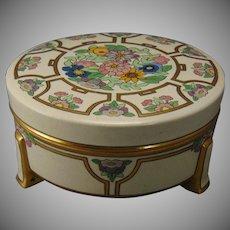"""American Satsuma Enameled Floral Design Covered Jar (Signed """"S.R. King""""/c.1910-1930)"""