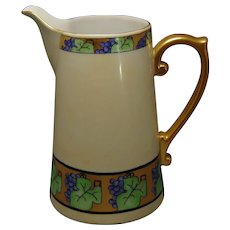 "Porcelain Blank Art Deco Grapevine Design Pitcher (Signed ""V. van N.""/c.1910-1940)"