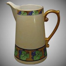 """Porcelain Blank Art Deco Grapevine Design Pitcher (Signed """"V. van N.""""/c.1910-1940)"""