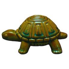 Zsolnay Hungary Eosin Green Turtle Figurine (c.1920-1940)