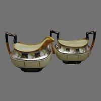 "T&V Limoges Pickard Studio ""Calla Lilies"" Design Creamer & Sugar Set (Signed ""Passoni""/c.1914-1916)"