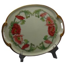 """RS Tillowitz Poppy Design Tray (Signed """"N. Ross""""/Dated 1927)"""