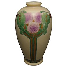 "American Satsuma Enameled Dandelion Design Vase (Signed ""M.W.""/Dated 1912)"