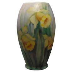 "Willets Belleek (American) Daffodil Motif Vase (Signed ""Yeakl""/Dated 1916)"