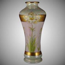 """D&Co. Limoges Lustre Lily Design Vase (Signed """"Steve""""/c. 1900-1920)"""