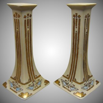 "B&Co. Limoges Art Deco ""Conventional Butterfly"" Design Candlesticks (c.1914-1930) - Keramic Studio Design"