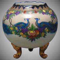 T&V Limoges Peacock & Fruit Design Footed Vase/Rose Bowl (c.1909-1935) - Keramic Studio Design