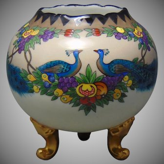 T&V Limoges Peacock & Fruit Design Footed Vase/Rose Bowl (c.1909-1935) - Keramic Studio Design