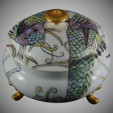 "PL Limoges Oriental Fish Design Trinket Dish (Signed ""L.P.N.""/c.1900-1920) - Keramic Studio Design"