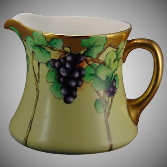 "WG&Co. Limoges Grape Design Cider/Lemonade Pitcher (Signed ""Sutherland""/c.1910-1930) - Keramic Studio Design"