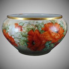 "Classio Bavaria Poppy Motif Vase/Jardinière (Signed ""L.S. Fluckey""/c.1910-1940)"