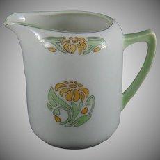 "Oscar & Edgar Gutherz (O&EG) Austria Floral Design Creamer/Pitcher (Signed ""H.E.S.""/ Dated 1919)"