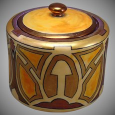 """Pfeiffer & Lowenstein (P&L) Austria Art Deco Lustre Covered Jar/Canister (Signed """"M. Dreyer""""/Dated 1913)"""