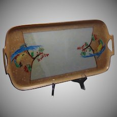 "Porcelain Blank Parrot & Fruit Design Tray (Signed ""Alice Jensen""/Dated 1935)"