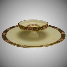 """T&V Limoges Caviar/Serving Plate (Signed """"JWH""""/c.1910-1930)"""