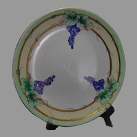 "Czechoslovakia Grape Design Shallow Bowl (Signed ""Lucille Turnley""/Dated 1922)"