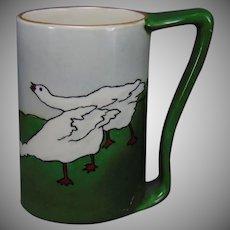 """Jean Pouyat Limoges Geese Design Mug/Tankard (Signed """"Lyon""""/Dated 1907)"""