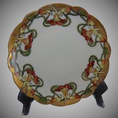 """Limoges """"Mark 6"""" Nasturtium Design Plate (Signed/Dated 1907)"""