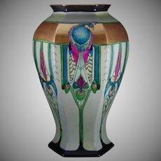 B&Co. Limoges Art Deco Peacock Design Vase (c.1905-1930)