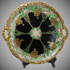 "Jean Pouyat (JP) Limoges Grape Design Handled Plate (Signed ""R.E.R.""/Dated 1907)"