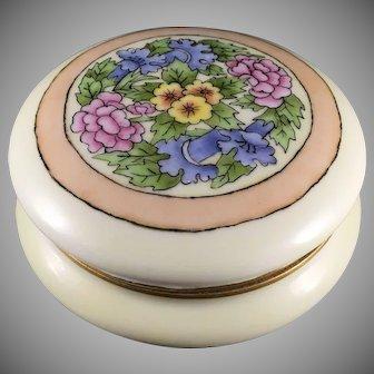"""AKD Limoges Floral Design Covered Jar (Signed """"BHE""""/c.1909-1930) - Keramic Studio Design"""