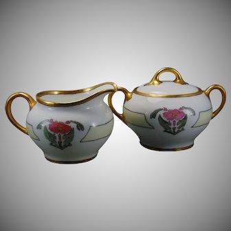 "ZS&Co. Bavaria Floral Design Creamer & Sugar Set (Signed ""Pearl E. Dogue""/c.1909-1930)"