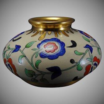 "American Satsuma Abstract Floral Design Vase (Signed ""Rose Johnson""/c.1920-1940)"