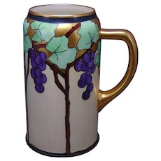 "Ceramic Art Company (CAC) Belleek (American) Grape Design Tankard/Mug (Signed ""Dutch to Pudge""/Dated 1904"") - Keramic Studio Design"