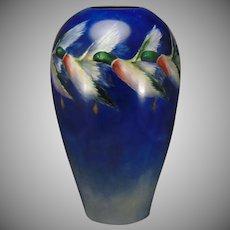 Willets Belleek (American) Mallard Ducks in Flight Design Vase (c.1880-1904)