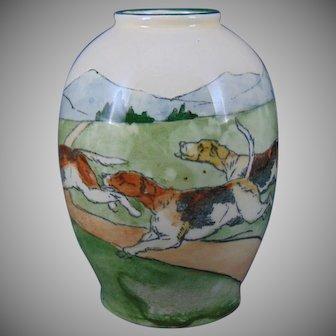 Austria Hunting Dog/Hound Motif Vase (Dated 1915)
