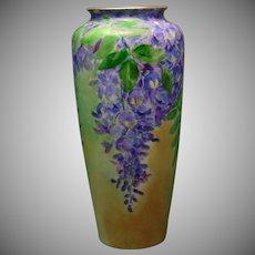 """T&V Limoges Wisteria Design Vase (Signed """"H.L. Darling""""/Dated 1911)"""