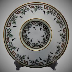 "T&V Limoges Greek Key & Abstract Floral Design Tiered Caviar/Serving Plate (Signed ""M.E. Monarch""/c.1910-1930)"