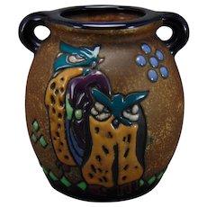 """Amphora Austria """"Campina"""" Owl Design Vase (c.1905-1910)"""