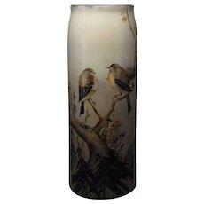 "Lenox Belleek (American) Bird/Finch Design Vase (Signed ""Mary A. Warren""/Dated 1907)"