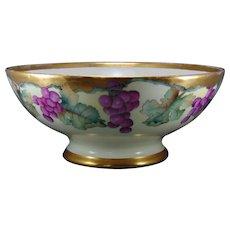 T&V Limoges Grape Motif Centerpiece/Punch Bowl (c.1900-1930)