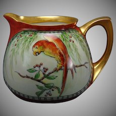 "RS Germany Parrots Design Cider/Lemonade Pitcher (Signed ""D. Jury""/c.1904-1938)"