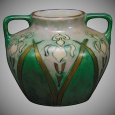 "WG&Co. Limoges Iris Design Vase (Signed ""CJ""/c.1910-1930) - Keramic Studio Design"