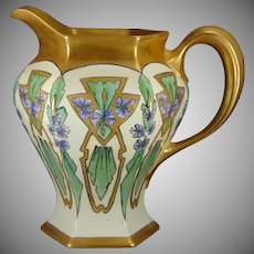 "B&Co. Limoges Butterfly Motif Pitcher (Signed ""V.R.""/c.1910-1930)"