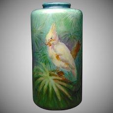 Lenox Belleek (American) Cockatiel Design Vase (c.1906-1924)