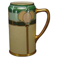 "Willets Belleek (American) Art Deco Lemon Design Tankard (Signed ""F E Newman""/c.1900-1920)"