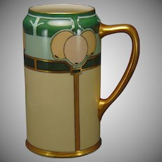 "Willets Belleek (American) Art Deco Lemon Design Tankard (Signed ""F E Newman""/c.1900-1920)"