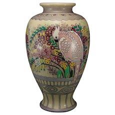 "American Satsuma ""Venetian Garden"" Design Vase (Marked ""Apr. 17""/Dated 1922) - Keramic Studio Design"