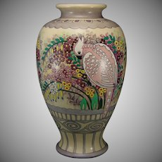 "American Satsuma ""Venetian Garden"" Design Vase (Marked ""Apr. 17""/Dated 1922) - Keramic Studio Design"