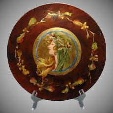 """JP Limoges Mucha-Style """"Autumn Lady"""" Design Charger/Plate (Signed/c.1900-1930) - Keramic Studio Design"""